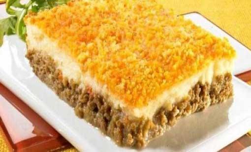 البطاطس «السوفليه» مع اللحم المفروم والعدس